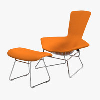 Knoll Bertoia High Back  lounge Chair and Ottoman