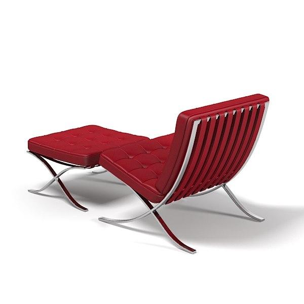 knoll barcelona chair stool 3d max knoll barcelona chair and stool