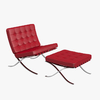 Knoll Barcelona Chair and Stool