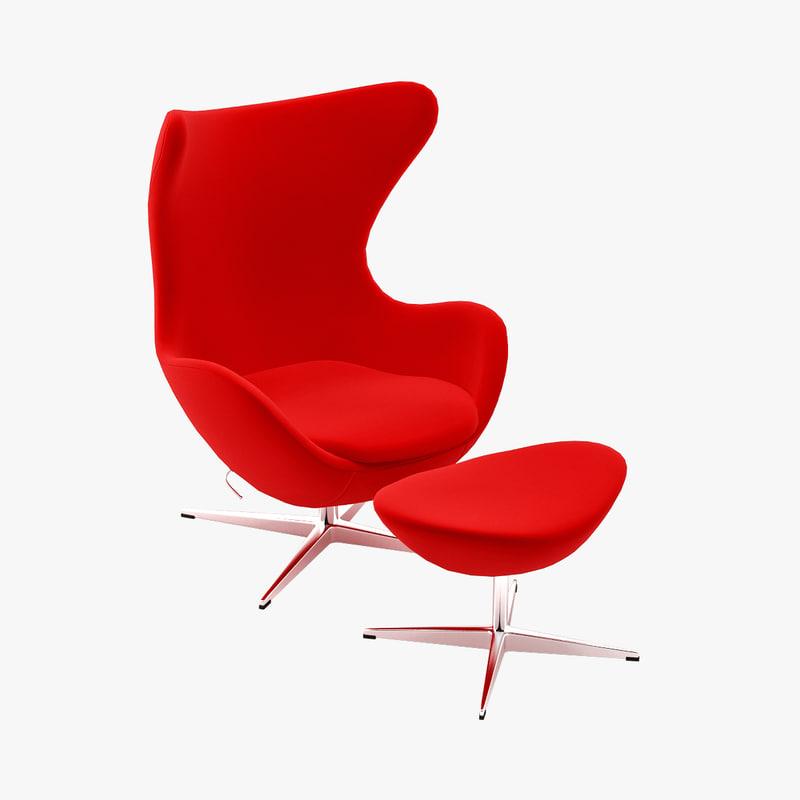 3d design arne jacobsen egg. Black Bedroom Furniture Sets. Home Design Ideas