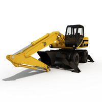 middle hydraulic excavator 3d 3ds