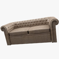 chesterfield leather sofa 3d model