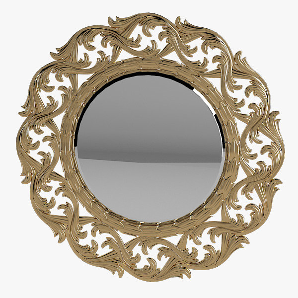 a French Round Baroque Carved Mirror Carving classic empire provence traditional victorian.jpg