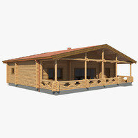 3d realistic log house mh model