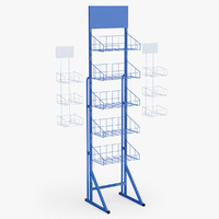 3d supermarket basket shelfs model