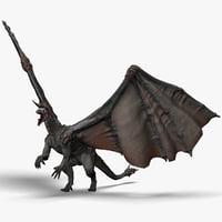 realistic volcano dragon pose 3d c4d