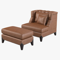Tufted Club Chair & Ottoman Set