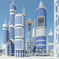 3ds max futuristic buildings