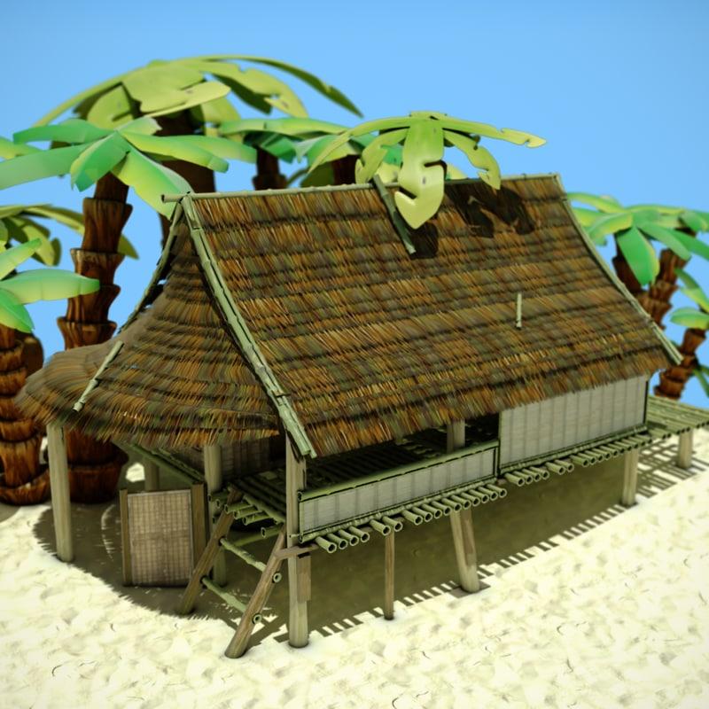 3d bamboo hut model for Model beach huts