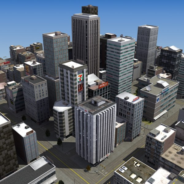 3d model of urban city rt