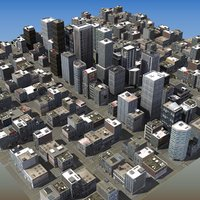 3d model urban city scene trees