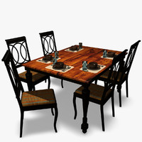 3d model dinner table set