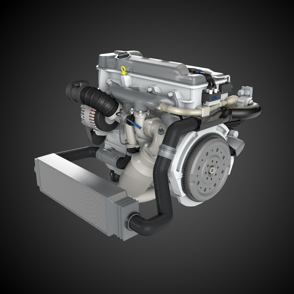 Model Car With Engine: 3d Model Generic 4 Cylinder Car Engine