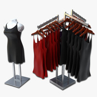 cocktail dresses rack mannequin 3d model