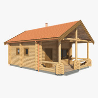 3d realistic log house mh