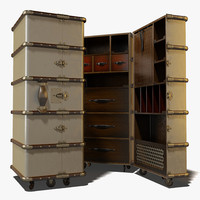 Authentic Models Stateroom Armoire Travel Trunk Wardrobe Ship Chest