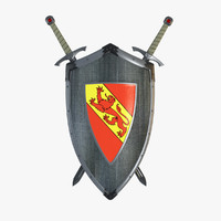 shield sword hangers 3d model