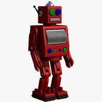 Vintage Red Robot Toy