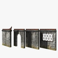 tileable asiatic wall 3d model