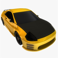 3d model yellow black sports car