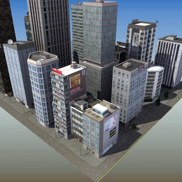 downtown skyscraper city block 3d max - RT TallTower Block A... by ES3DStudios