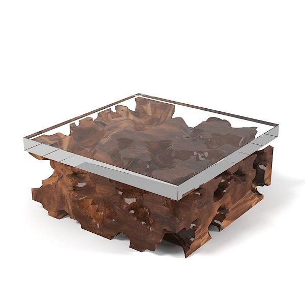 Teak Root Coffee Table Base: Hudson Furniture Teak Root 3d Model