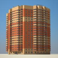 red big building 3d model