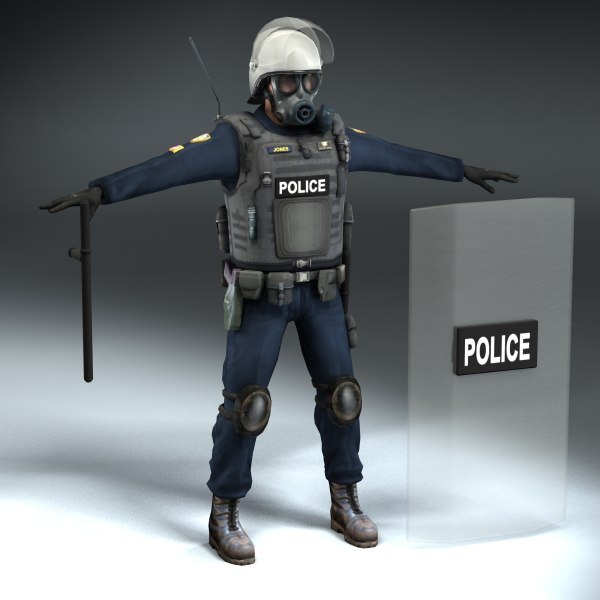 riot police officer 3d 3ds