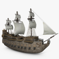 old pirate medieval ship 3d model