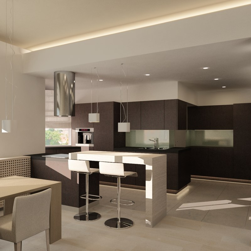 Kitchen Living Room Pass Through See Description: Living Room 3d Model