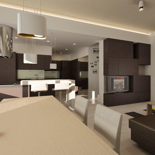 Living room 3d model for Living models