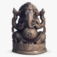 3d ganesha statuette india model