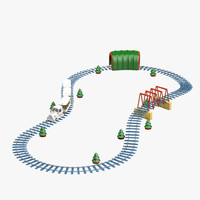 toy railroad 3d obj