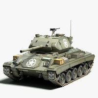 3d m24 chaffee light tank model