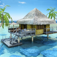 3d tropical beach bungalow