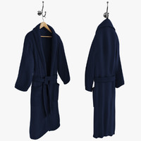 Blue Bathrobe on Hanger and Hook