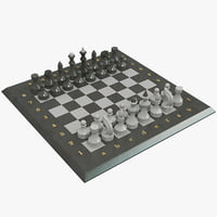 stone chess set 3d model