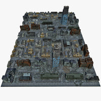 3d destroyed town model