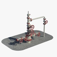 oil wellhead pipes 3d model