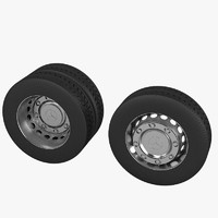 3d model heavy truck wheel set