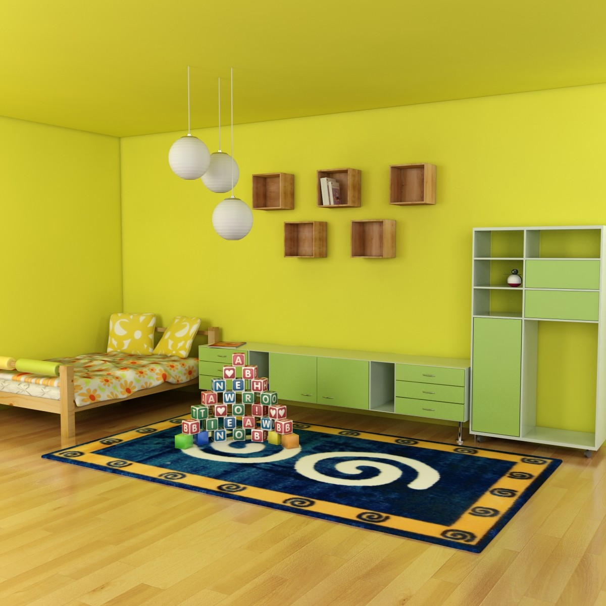 3d model kid bedroom scene