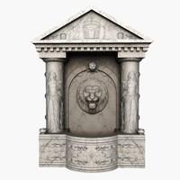 3d fountain doric marble