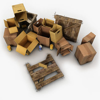 junk wood crate 3d obj