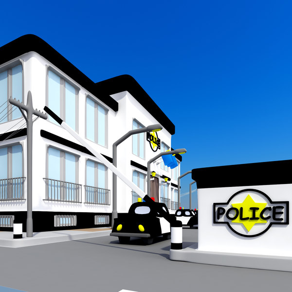 3dsmax cartoon police station car - Cartoon Police Station... by 3DRoC
