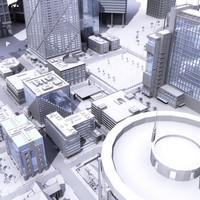3d cityscape skyscrapers