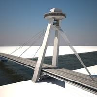 3dsmax famous bridge bratislava new