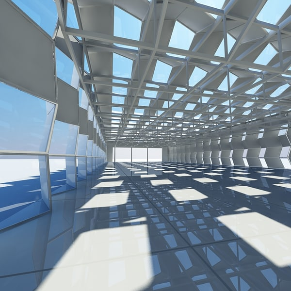 3d large architectural shed interior space for Space architecture