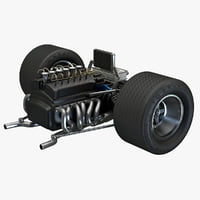 racing car suspension engine parts c4d