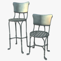 3d model iron cafe chair bar stool