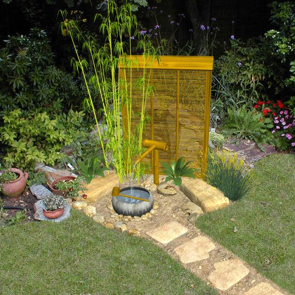 3d model water basin tsukubai gardens - Japanese garden water basin ...